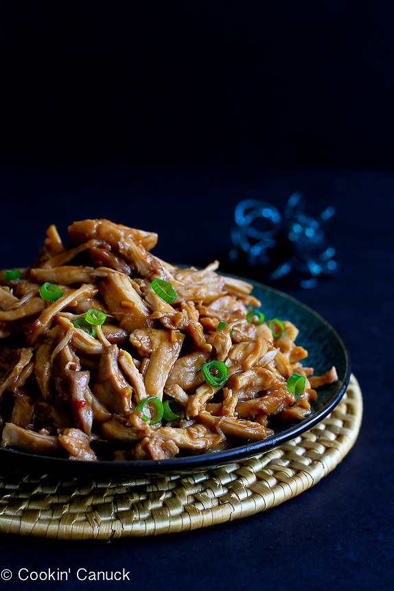 Slow Cooker Hoisin Chicken...Fantastic flavor with only 112 calories and 3 Weight Watchers points per serving! | cookincanuck.com #recipe #crockpot #healthy