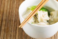 Closeup of Wonton Soup