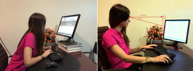 Ejemplo de posiciones delante del ordenador incorrecta (primera) y correcta (segunda)