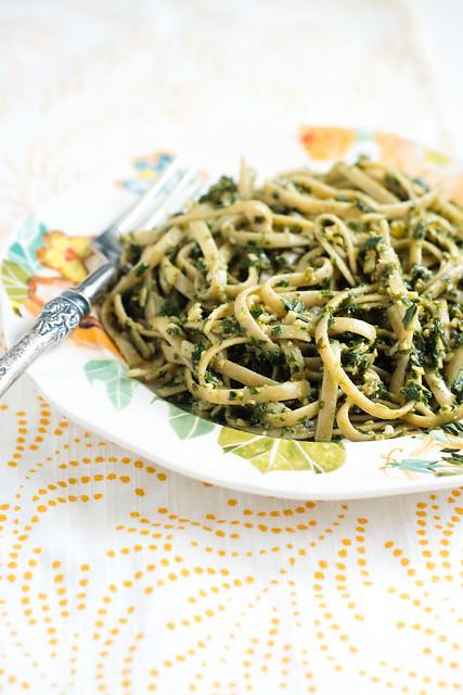 Kale and Pumpkin Seed Pesto Pasta