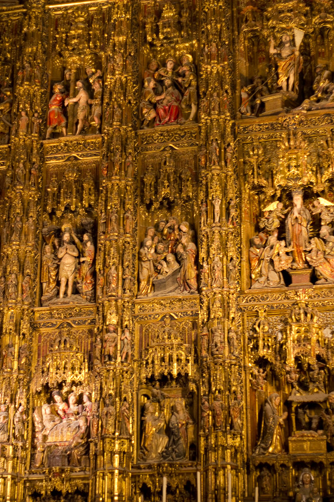 Golden altar in the Cathedral of Seville