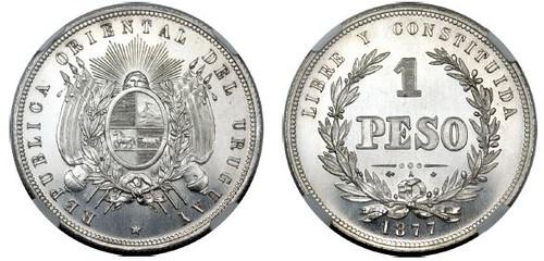 1877 Uraguay One Peso