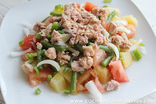 Ensalada de patata, tomate y judías verdes www.cocinandoentreolivos (2)