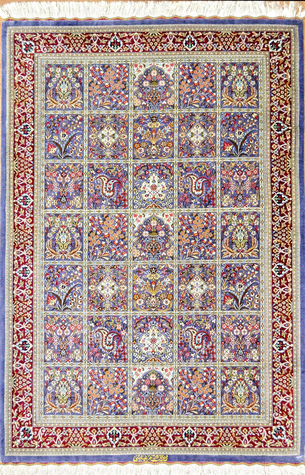 Qum Silk Persian Rug Kheshti