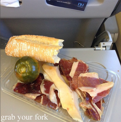 Iberico jamon snack on the plane