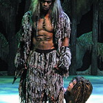 Arvada Center Tarzan pictured L-R Laurence A. Curry (Kerchak), Conrad Eck (Young Tarzan) Photo P. Switzer -