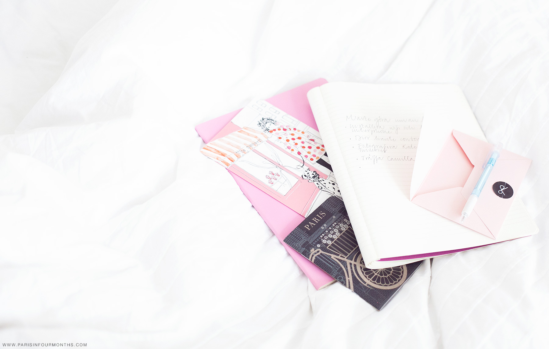 Notes in bed by Carin Olsson (Paris in Four Months)