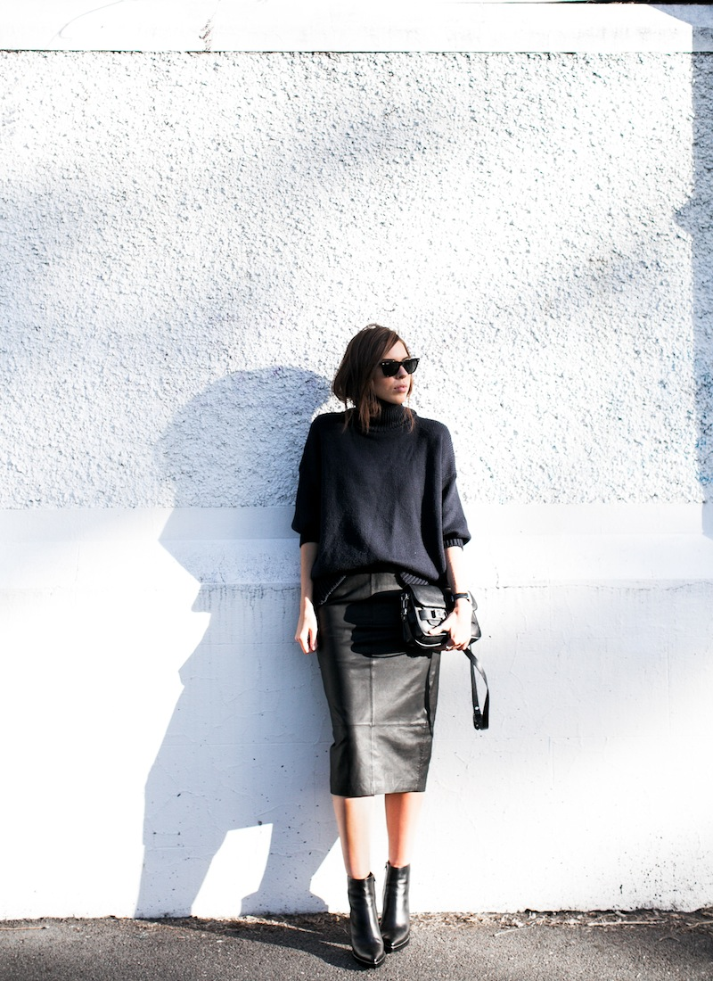 modern legacy blog kaity street style off duty minimalist ASOS leather pencil skirt Scanlan and Theofore chunky knit turtleneck sweater navy black Alexander Wang Kelli ankle boots Proenza Schouler PS11 Mini Classic satchel bag  (1 of 7)