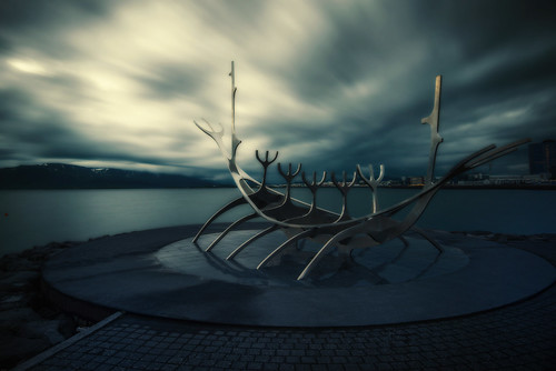 city longexposure travel urban sculpture color nature architecture landscape iceland europe cityscape dusk atmosphere landmark reykjavik midnight nordic cinematic