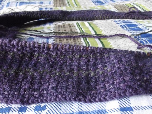 Linen stich scarf, detail