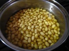 豆をコンソメスープで戻します