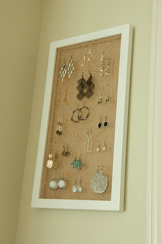 Create Earring Holder Using Frame and Burlap