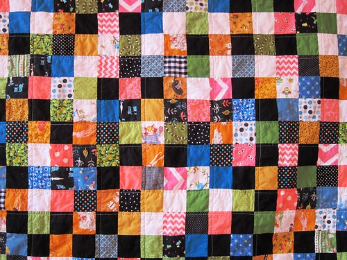 close-up, one-patch baby quilt