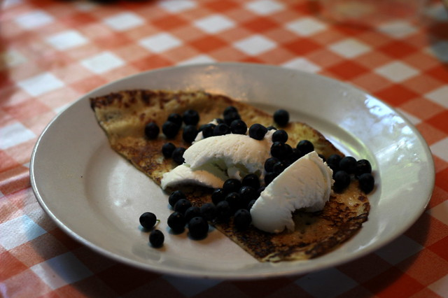 Blueberry crepes and ice-cream