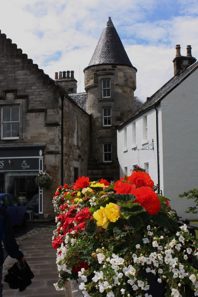 Falkland Scotland flowers and tower