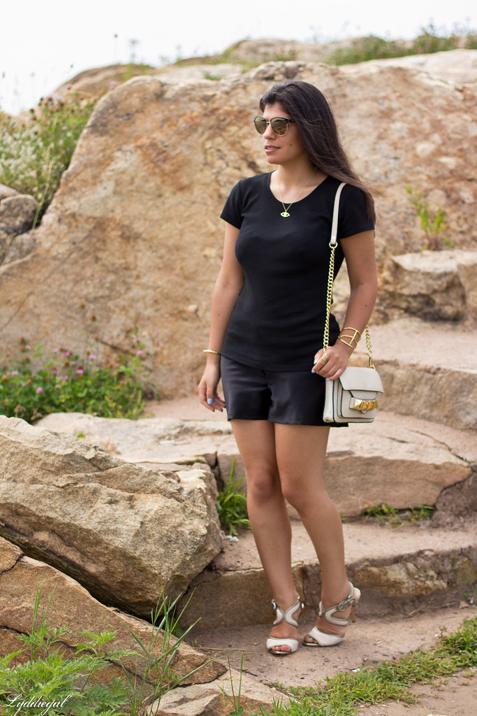 black shorts and top, cream bag and shoes-2.jpg