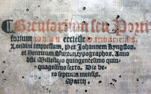 sarum breviary 1556 colophon detail