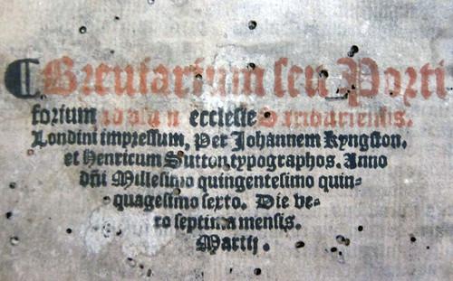 sarum breviary 1556 colophon detail
