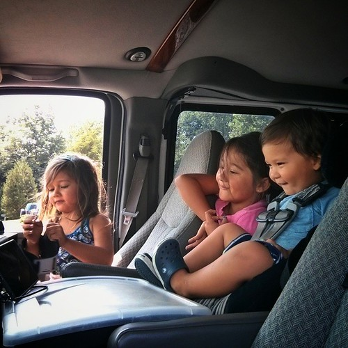 As soon as we park the airstream and the van's engine stops, they rip off their seatbelts and swarm to each other. Swapping seats, squishing each other, laughing, trying get a few extra glimpses of a movie. These are the little moments I hope they remembe