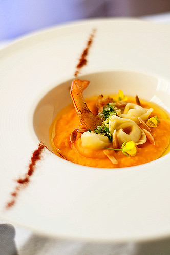 Tortellini Formaggi with Pumpkin Puree, Buttered Prawns Dressed with Gremolata and Roasted Slivered Almonds
