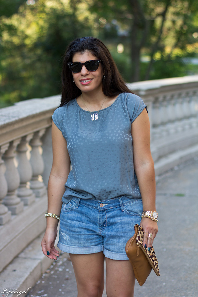 boyfriend denim shorts, silk top, leopard clutch-7.jpg