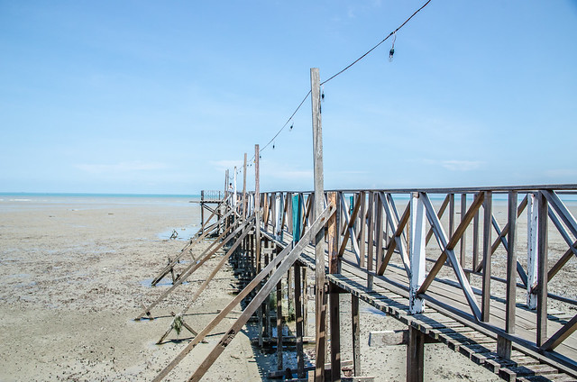 A long wooden bridge at Tanjung Sepat