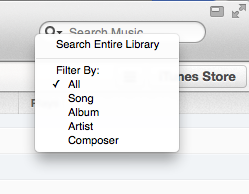 iTunes search filter