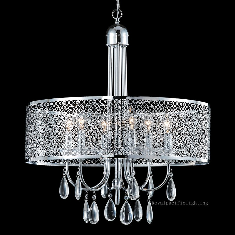 new 6 lamp 23 laser cut drum shade chandelier clear crystal lighting