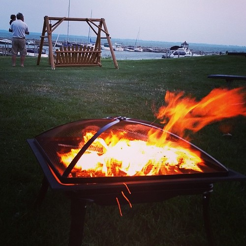 Camp fire on Lake Erie. Perfect way to end the summer. @ShoresIslandsOH #lakeerie #greatlake