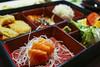 $6.95 Bento Lunch Special - Salmon Sashimi, Grilled Salmon w/ Teriyaki, Tempura, and Salad w/ Ginger Dressing