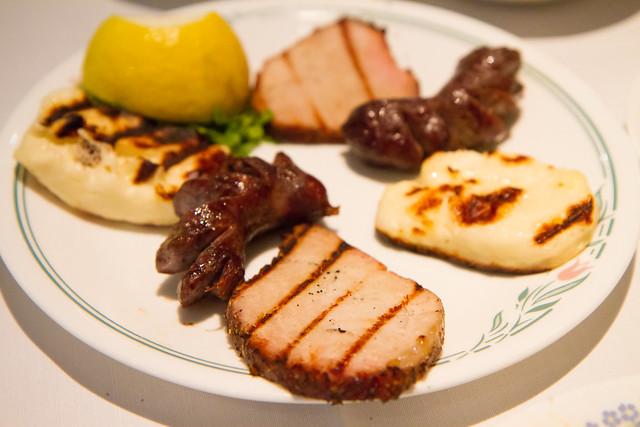 Cypriot meze (smoked pork loin, halloumi, loukaniko spitisio), Zenon Taverna