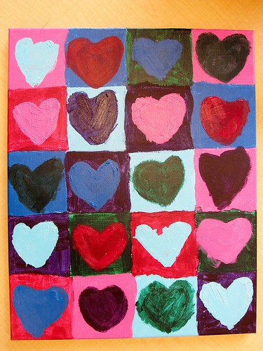 Kindergarten Art Auction Projects: Mrs. P's Heart Sampler