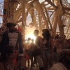 The light returned to us, after the white out. It was glorious. Beams boldly made their way through the delicate cutout walls of the Temple. Together, we peacefully embraced the silence and the dust.  #temple #burningman #bm2014 #brc #latergram #sunset
