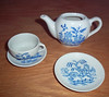 Vintage Doll china blue willow pattern