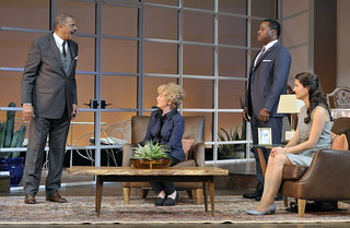 Lonnie Farmer, Julia Duffy, Malcolm-Jamal Warner, and Meredith Forlenza in the Huntington Theatre Company production of Todd Kreidler's compelling family comedy GUESS WHO'S COMING TO DINNER directed by David Esbjornson, playing Sept. 5 – Oct. 5, 2014 at the Avenue of the Arts / BU Theatre. Photo: Paul Marotta