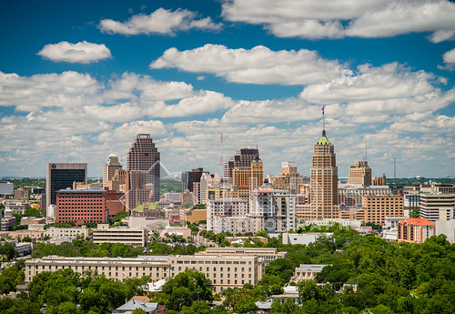 urban sun skyline clouds photography nikon san day cityscape texas district central 85mm clarity sunny clear business daytime cbd antonio partial d800 14g jld3