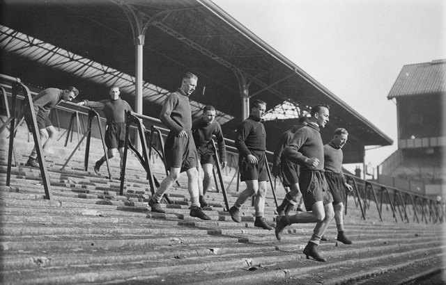 picture of White Hart Lane steps with players training