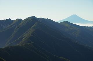 Mt. Houô and Mt. Fuji