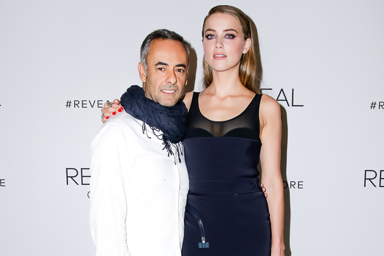 Francisco Costa and Amber Heard at the Calvin Klein Reveal launch