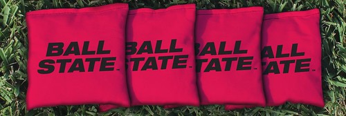 BALL STATE TEXT CORNHOLE BAGS