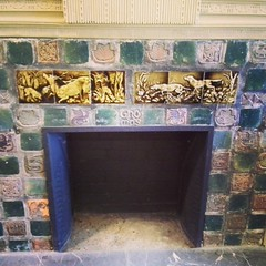 The beautiful Moravian tiles from Doylestown grace the fireplace at the Rose Yree Tavern in Media, PA.