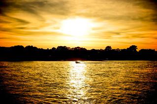Image de Rhein. boot abend wasser sonnenuntergang wolken gelb fluss sonne rhein schatten spiegelung wellen