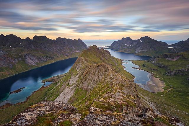 View from Helvetestinden, Lofoten, Norway