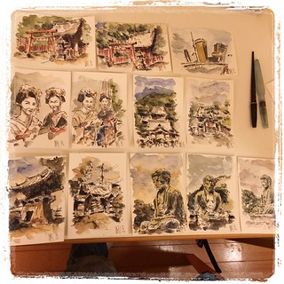 #japon #pfj #watercolor #platinum #carbon original postcards