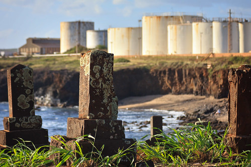 cemetery graveyard japanese hawaii headstones graves kauai glassbeach portallen eleele
