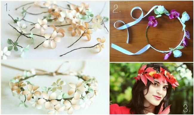coroncina di fiori, fil di ferro e smalto per le unghie, ghirlanda di fiori