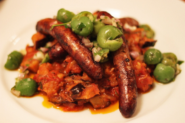 Lamb Merguez with Eggplant Jam and Green Olives - Amateur Gourmet