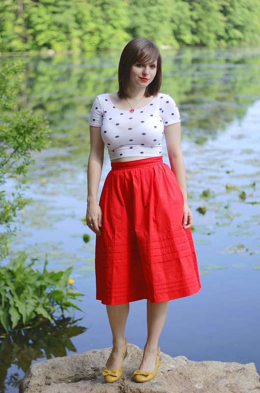 eshakti, eshakti skirt, fashion blogger, red skirt, red tea length skirt, long red skirt, nautical fashion, nautical accessories, polka dots, polka dot crop top, polka dotted crop top, personal style