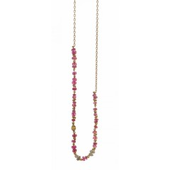 Pink Spinel & Grey Diamond Story Necklace