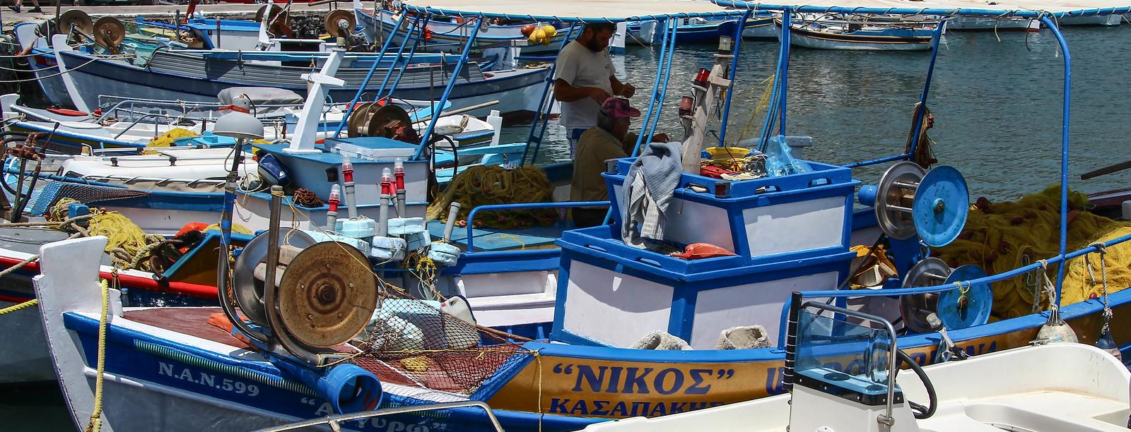 Fischerboote in Elounda, Kreta